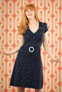 Chloe Seaside Dress Années 60 en Bleu marine