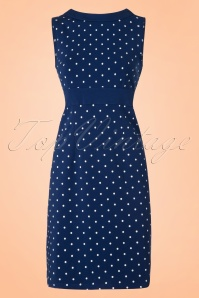 Mademoiselle Yeye Lolette Dress in Navy Dots 19896 20161116 0007W