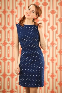 60s Lolette Dots Dress in Blue