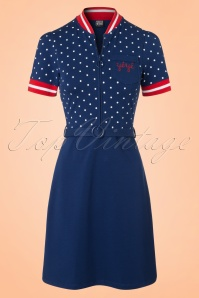 Mademoiselle Yeye Jen Dress in Navy Dots 19889 20161116 0005W