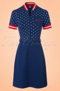 Mademoiselle Yeye Jen Dress in Navy Dots 19889 20161116 0005W