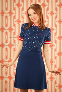 60s Jen Dots Dress in Blue