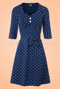 Mademoiselle Yeye June Dress Blue Dots 19888 20161117 0004W