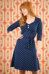 60s June Polkadot Dress in Navy