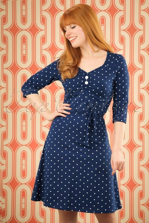 Mademoiselle Yeye June Dress Blue Dots 19888 20161117 001W