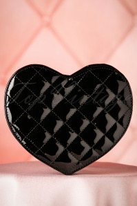 60s Eliza Lacquer Heart Handbag in Black