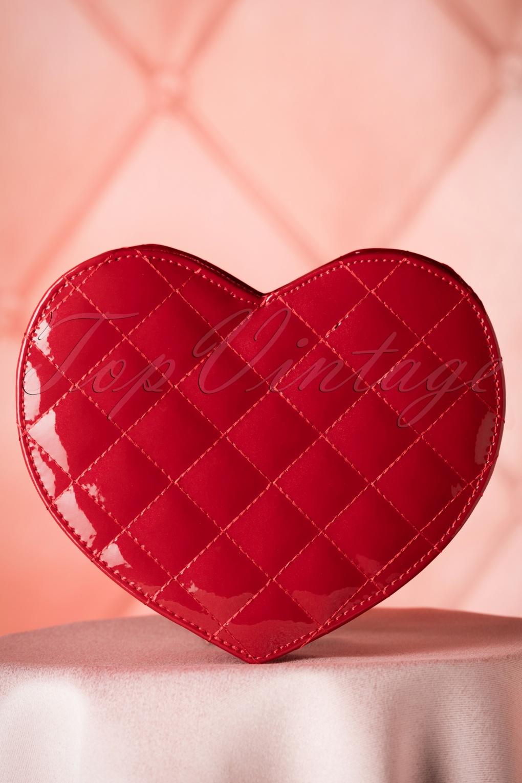 60s Eliza Lacquer Heart Handbag in Red