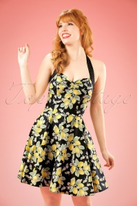 50s Leandra Lemon Halter Swing Dress in Black