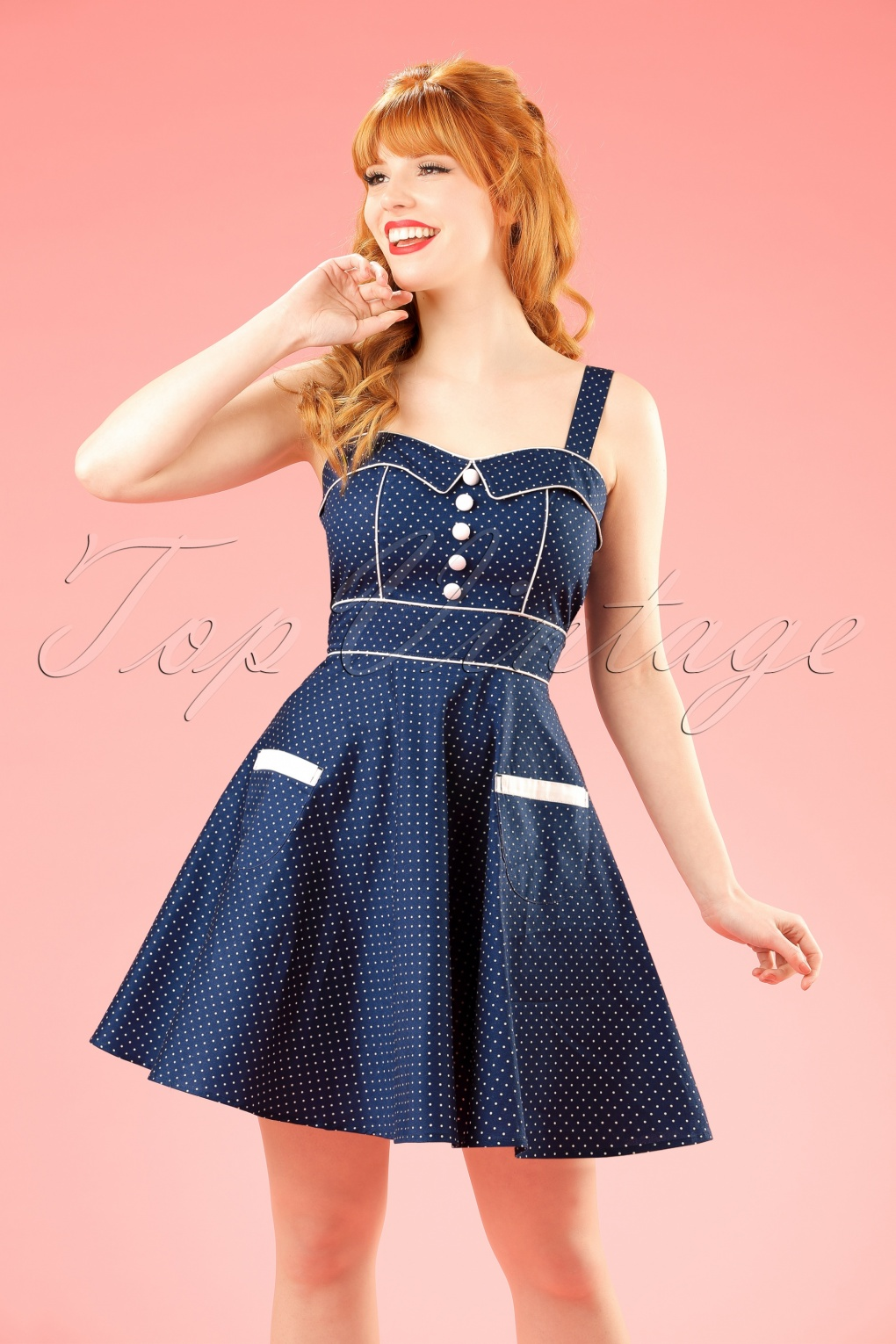 1950s Polka Dot Dresses 50s Vanity Pin Dots Mini Swing Dress in Navy £38.62 AT vintagedancer.com