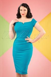 50s Louisa Pencil Dress in Sky Blue
