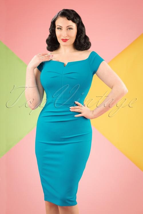 Vintage Chic Turquois Pencil Dress 100 32 19391 20160708 0001W