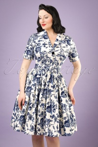 Collectif Clothing Janet Toile Floral Shirt Dress 20829 20121224 0001bw
