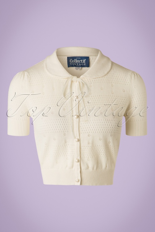 Collectif Clothing Carly Cardigan in Ivory 20754 20161130 0003W