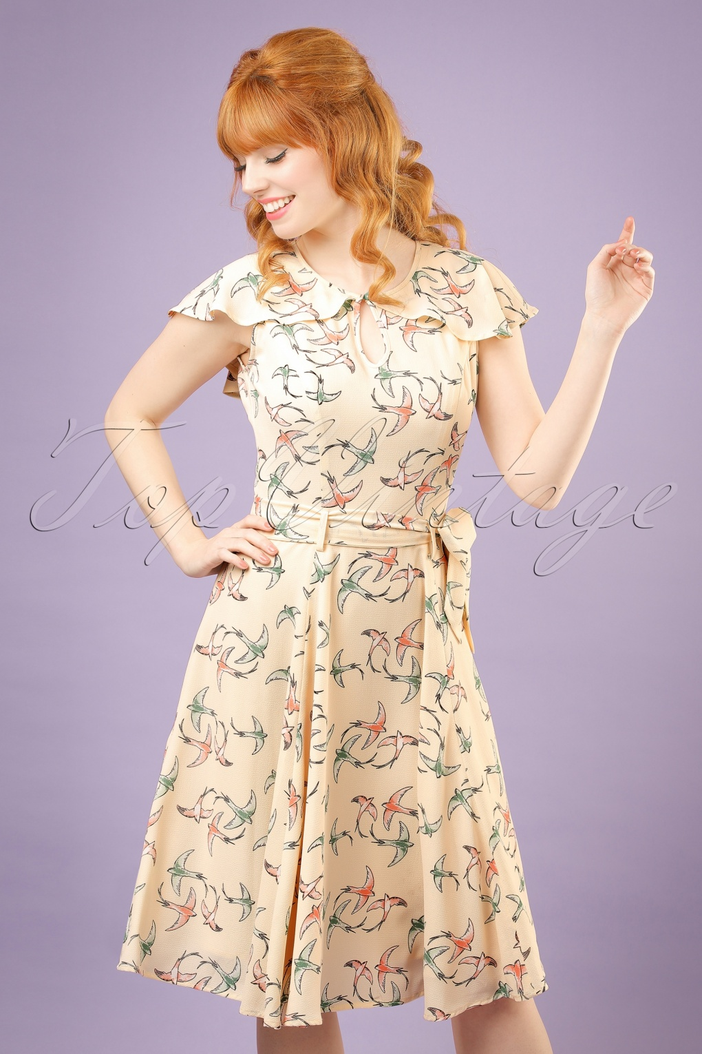 1940s Dresses and Clothing UK 40s Tamara Swallow Swing Dress in Cream £38.52 AT vintagedancer.com