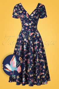 Collectif Clothing Maria Charming Bird Swing Dress 20837 20161128 0014W1