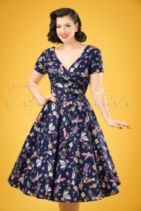 50s Maria Charming Birds Swing Dress in Dark Blue