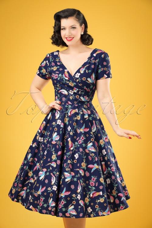 Collectif Clothing Maria Charming Bird Swing Dress 20837 20161128 01W