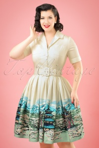 50s Janet Scenic Mountain Shirt Dress in Cream