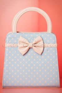 50s Carla Polkadot Handbag in Light Blue and Beige