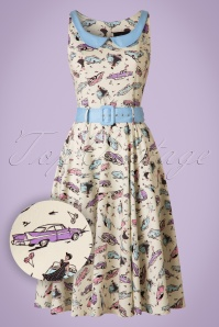 50s Kitty Car Swing Dress in Ivory