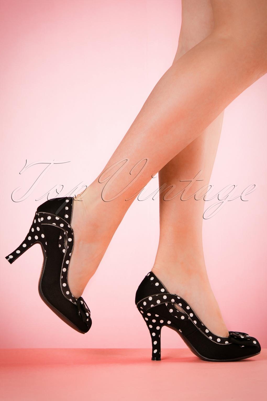 1960s Style Shoes 60s Ivy Polkadot Pumps in Black £45.44 AT vintagedancer.com