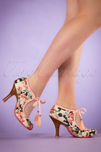 40s Willow Floral Booties in Peach
