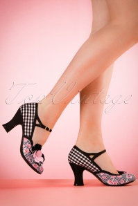 RRuby Shoo Dee Pump in Black with Pink Flowers 402 14 19819 model 03082017 002W