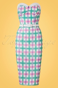 Collectif Clothing Monica Candy Gingham Pencil Dress 20691 20161129 0005w