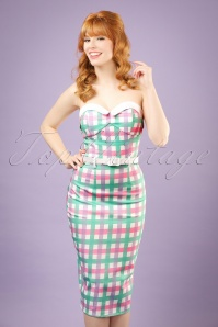 Collectif Clothing Monica Candy Gingham Pencil Dress 20691 20121224 0001bw