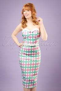 Monica Candy Gingham Pencil Dress Années 50 en Pastel