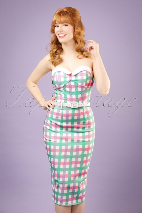 50s Monica Candy Gingham Pencil Dress in Pastel