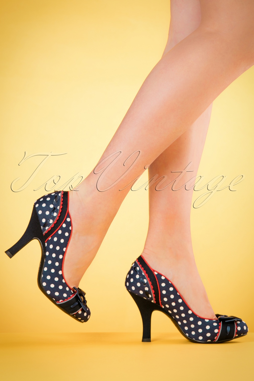 Pin Up Shoes- Heels & Flats 50s Amy Polkadot Pumps in Navy £59.41 AT vintagedancer.com