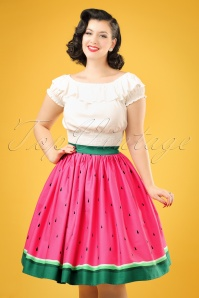 50s Jasmine Watermelon Swing Skirt in Pink and Green
