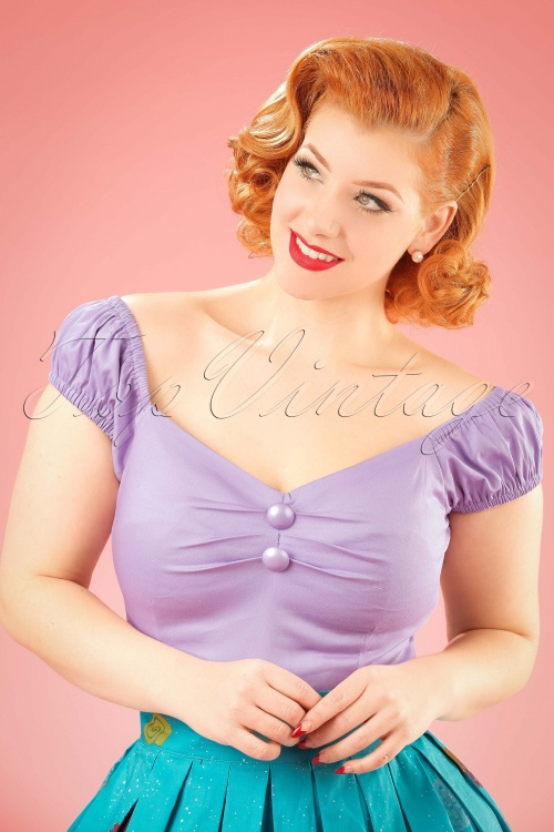 Collectif Clothing Dolores Plain Lilac Top 20635 20161201 0003W (2)