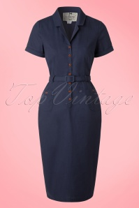 Collectif Cloting Catherina Blue Pencil Dress 17740 20151119 0008W