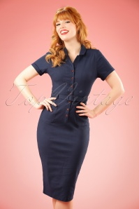 50s Caterina Pencil Dress in Navy