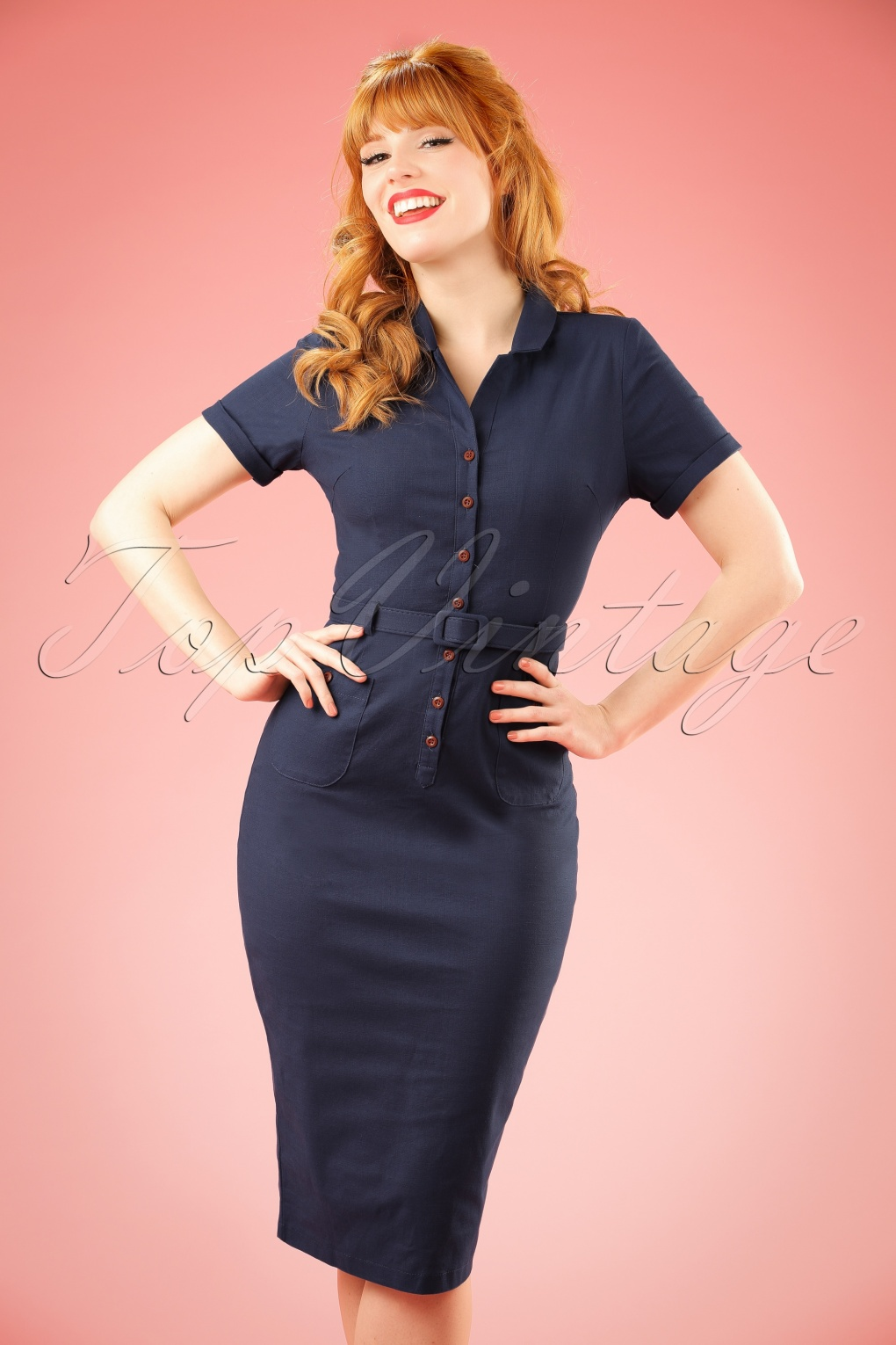 1940s Dresses and Clothing UK 50s Caterina Pencil Dress in Navy £61.42 AT vintagedancer.com