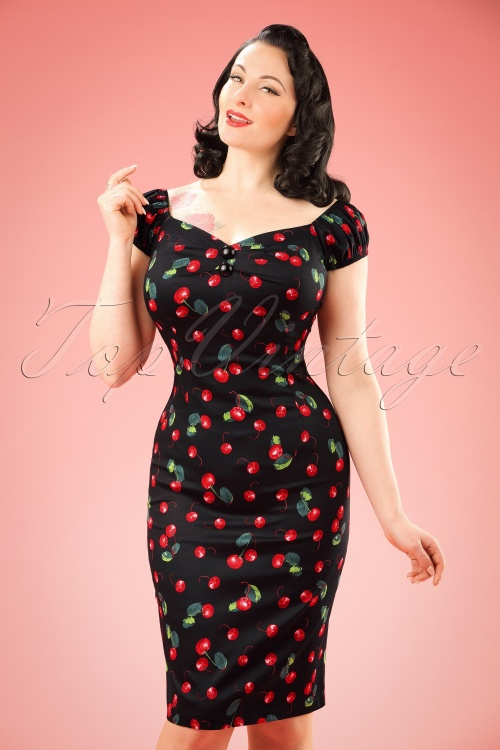 Collectif Clothing Dolores Cherry Pencil Dress Black 100 14 16094 20160217 01W