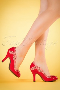 Ruby Shoo Ivy Pumps in Red 400 20 19804 model 03082017 004W