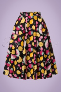 50s Tutti Frutti Swing Skirt in Black