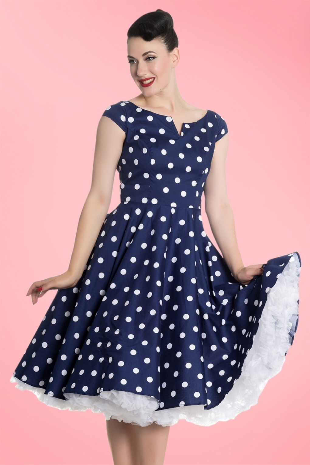 1940s Pinup Dresses for Sale 50s Nicky Polkadot Swing Dress in Navy and White £37.59 AT vintagedancer.com