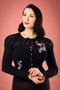 60s Flamingo Cardigan in Black