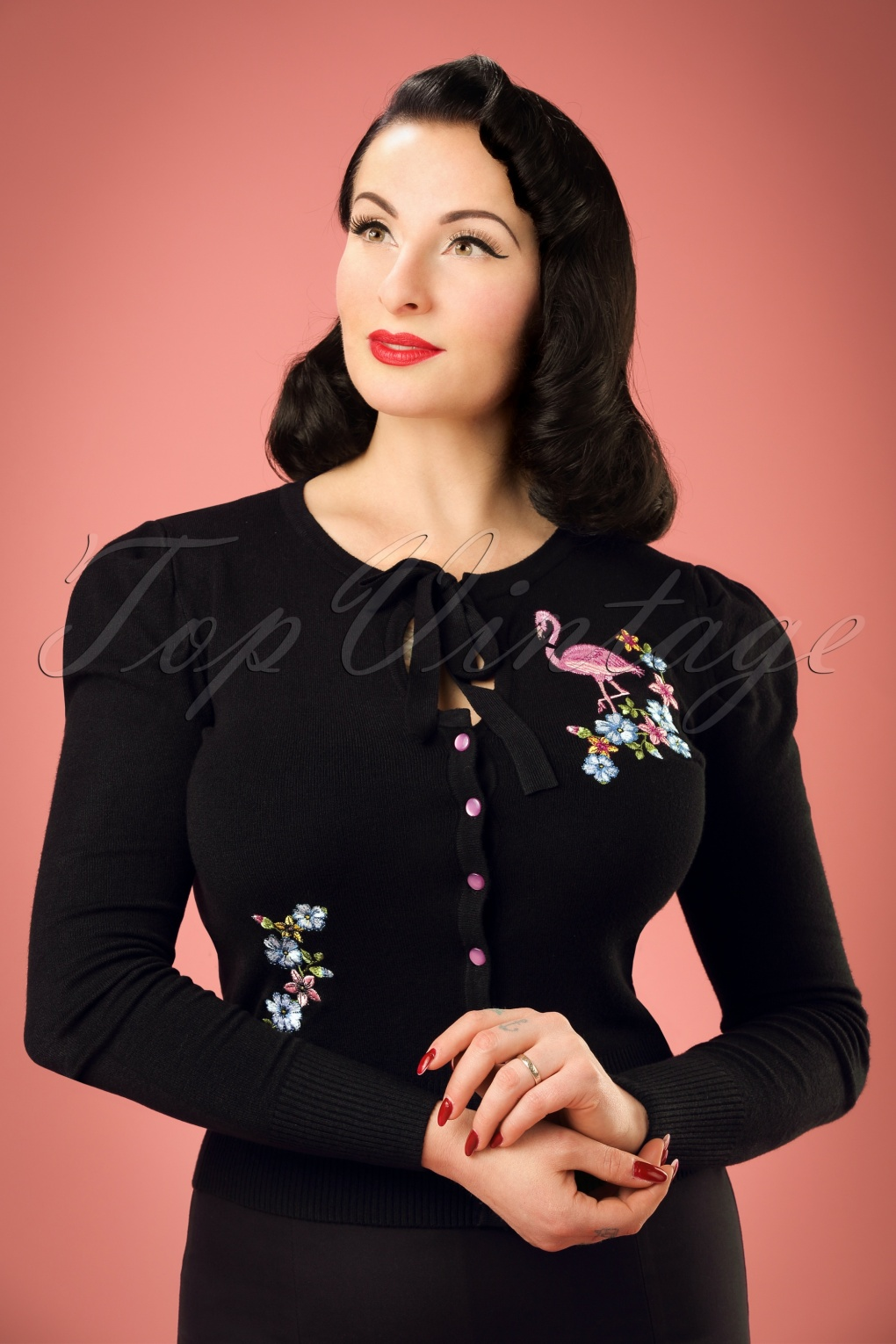 1950s Style Sweaters, Crop Cardigans, Twin Sets 60s Flamingo Cardigan in Black £18.05 AT vintagedancer.com