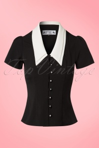 40s Olsen Top in Black and Ivory Crêpe