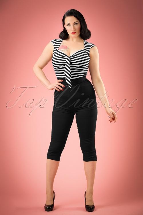 Collectif Clothing Gracie Plain Capris in Black 20648 20161201 01W