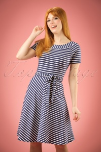 60s Breton Stripe Skater Dress in Nuit Blue