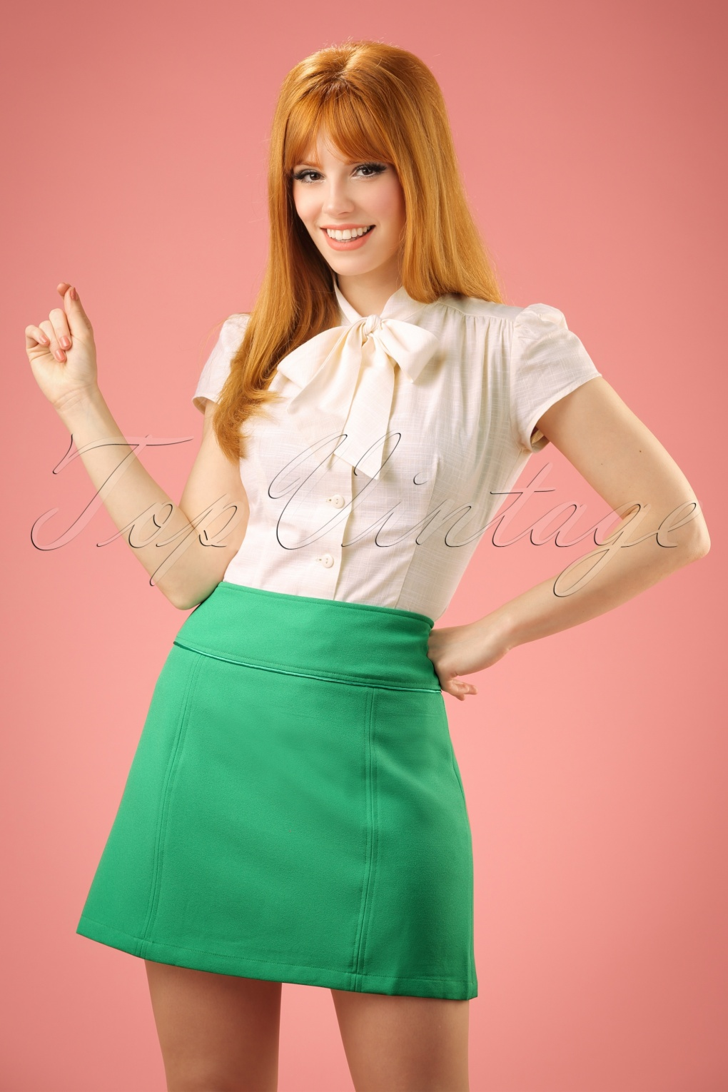 Retro Skirts: Vintage, Pencil, Circle, & Plus Sizes 60s Olivia Skirt in Opal Green £55.16 AT vintagedancer.com
