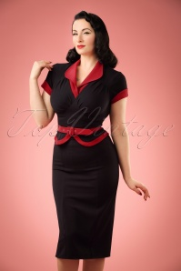 TopVintage exclusive ~ 50s Sabine Katalin Pencil Dress in Black and Red