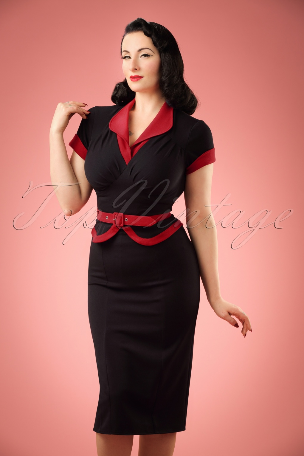 50s Dresses, Pinup Dresses, Swing Dresses TopVintage exclusive  50s Sabine Katalin Pencil Dress in Black and Red £93.00 AT vintagedancer.com