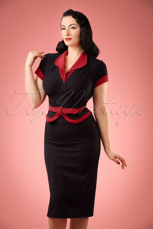 Miss Candyfloss TopVintage Exclusive Black Pencil Dress 100 10 20615 20170223 01